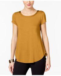 Alfani - Orange Petite Short-sleeve High-low Tee - Lyst