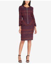 Tahari - Purple Textured Peplum Skirt Suit - Lyst