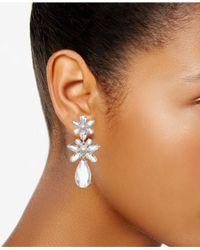 Kate Spade - Metallic Silver-tone Crystal & Imitation Pearl Flower Triple Drop Earrings - Lyst