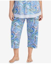 Ellen Tracy - Blue Plus Size Printed Cropped Pajama Pants - Lyst