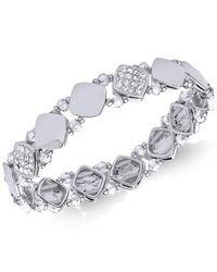 Nine West - Metallic Polished Pavé Stretch Bracelet - Lyst