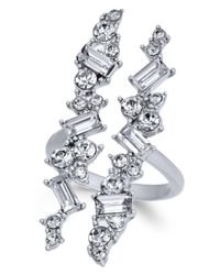 INC International Concepts - Metallic Silver-tone Wide Crystal Cuff Statement Ring, Created For Macy's - Lyst