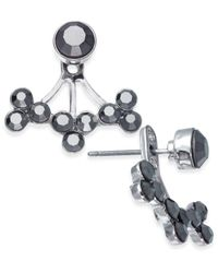INC International Concepts - Metallic Silver-tone Hematite Stone Jacket Earrings, - Lyst