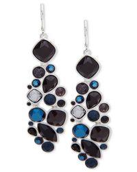Nine West - Blue Silver-tone Multi-stone Chandelier Earrings - Lyst
