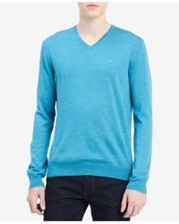 CALVIN KLEIN 205W39NYC - Blue Men's Solid V-neck Sweater for Men - Lyst