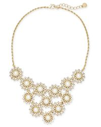 Charter Club - Metallic Gold-tone Imitation Pearl & Crystal Multi-circle Statement Necklace - Lyst