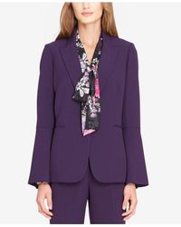Tahari Purple Bell-sleeve Blazer