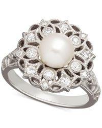 Arabella   Metallic Cultured Freshwater Pearl (7mm) And Swarovski Zirconia Ring In Sterling Silver   Lyst
