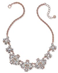 Charter Club   Metallic Rose Gold-tone Floral Crystal Necklace   Lyst
