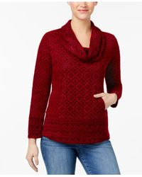 Style & Co. - Red Petite Printed Cowl-neck Sweater - Lyst