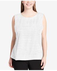 Calvin Klein - White Plus Size Mixed-media Top - Lyst