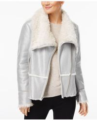 INC International Concepts - Metallic Petite Faux-suede Aviator Jacket With Faux-fur Trim - Lyst