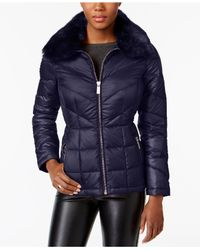Kenneth Cole - Blue Faux-fur-collar Down Puffer Coat - Lyst