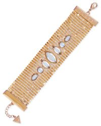 Guess - Metallic Gold-tone Crystal Mesh Flex Bracelet - Lyst
