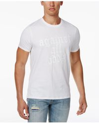 Guess White Men's Against All Odds Graphic-print Cotton T-shirt for men