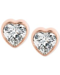 Michael Kors - Metallic Crystal Heart Stud Earrings - Lyst