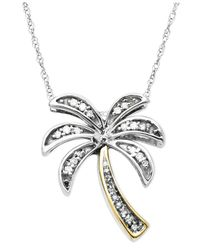 Macy's - Metallic Diamond Pendant, 14k Gold And Sterling Silver Diamond Palm Tree (1/10 Ct. T.w.) - Lyst
