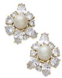 Kate Spade - Metallic Gold-tone Crystal & Imitation Pearl Stud Earrings - Lyst