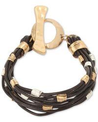 Robert Lee Morris - Metallic Soho Two-tone Leather Strand Toggle Bracelet - Lyst