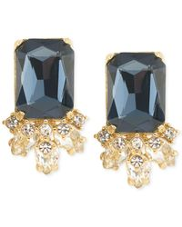 Carolee - Gold-tone Blue Crystal Stud Earrings - Lyst