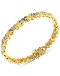 Macy's - Metallic Diamond Accent X Link Bracelet In Gold Over Fine Silver-plate - Lyst
