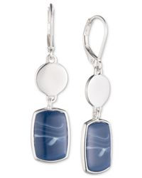 Nine West - Metallic Silver-tone Blue Stone Double Drop Earrings - Lyst