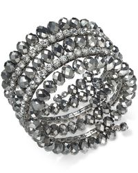 INC International Concepts - Gray Hematite-tone Coil Wrap Beaded Bracelet - Lyst