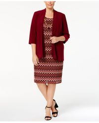 R & M Richards - Red Plus Size Open-front Jacket & Printed Necklace Dress - Lyst