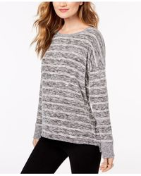 INC International Concepts - Gray Striped Knit Top, Created For Macy's - Lyst