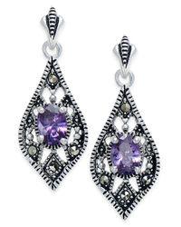 Macy's - Metallic Cubic Zirconia And Marcasite Drop Earrings In Silver-plate - Lyst