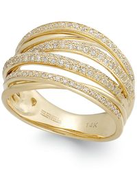 Effy Collection - Metallic Diamond Crossover Ring In 14k Gold (1/2 Ct. T.w.) - Lyst