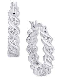 Macy's - Metallic Diamond Twist Hoop Earrings (1/10 Ct. T.w.) In Sterling Silver - Lyst