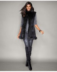 The Fur Vault - Multicolor Fox-trim Knitted Mink Fur Vest - Lyst