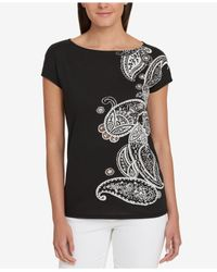 Tommy Hilfiger - Black Embroidered Top - Lyst