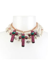 Betsey Johnson - Multicolor Two-tone Multi-stone Skull, Cross & Imitation Pearl Statement Necklace - Lyst