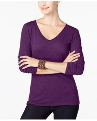 INC International Concepts | Purple V-neck Top, Only At Macy's | Lyst