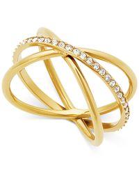 Michael Kors - Metallic Rose Gold-tone Pavé Crisscross Statement Ring - Lyst