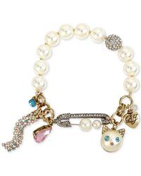 Betsey Johnson - Metallic Two-tone Multi-stone & Imitation Pearl Cat Charm Stretch Bracelet - Lyst