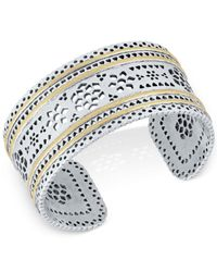Lucky Brand - Multicolor Two-tone Openwork Cuff Bracelet - Lyst