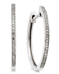 Macy's - Diamond Hoop Earrings (1/10 Ct. T.w.) In 14k White Gold - Lyst