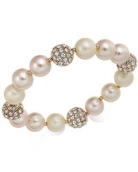 Charter Club - Pink Rose Gold-tone Pavé & Imitation Pearl Stretch Bracelet, Created For Macy's - Lyst