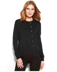Calvin Klein | Black Long-Sleeve Button-Front Cardigan | Lyst