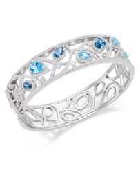 Macy's - Blue Multi-topaz (7 Ct. T.w.) Filigree Bangle Bracelet In Sterling Silver - Lyst