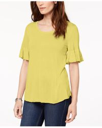 Style & Co. - Yellow Scoop-neck Bell-sleeve Sweater, Created For Macy's - Lyst