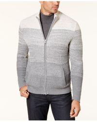 Alfani - Gray Men's Ombré Full-zip Sweater for Men - Lyst