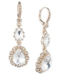 Marchesa - Metallic Gold-tone Crystal Double Drop Earrings - Lyst
