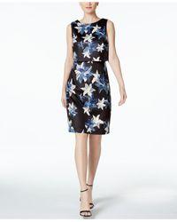 Ivanka Trump   Black Floral-print Scuba Popover Dress   Lyst