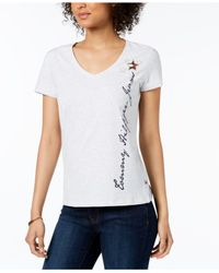 Tommy Hilfiger - White Logo V-neck T-shirt, Created For Macy's - Lyst
