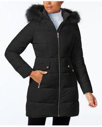 Ivanka Trump - Black Faux-fur-trim Down Puffer Coat - Lyst
