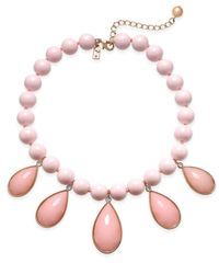 Kate Spade | Pink Gold-tone Cubic Zirconia & Colored Stone Beaded Necklace | Lyst